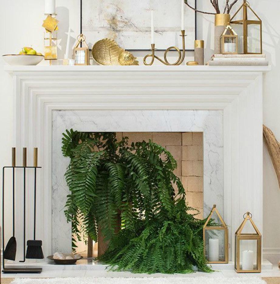 Αν επιλέξετε να βάλετε φυτά τότε γεμίστε το τζάκι σας με αυτά για να δείχνει πλούσιο.