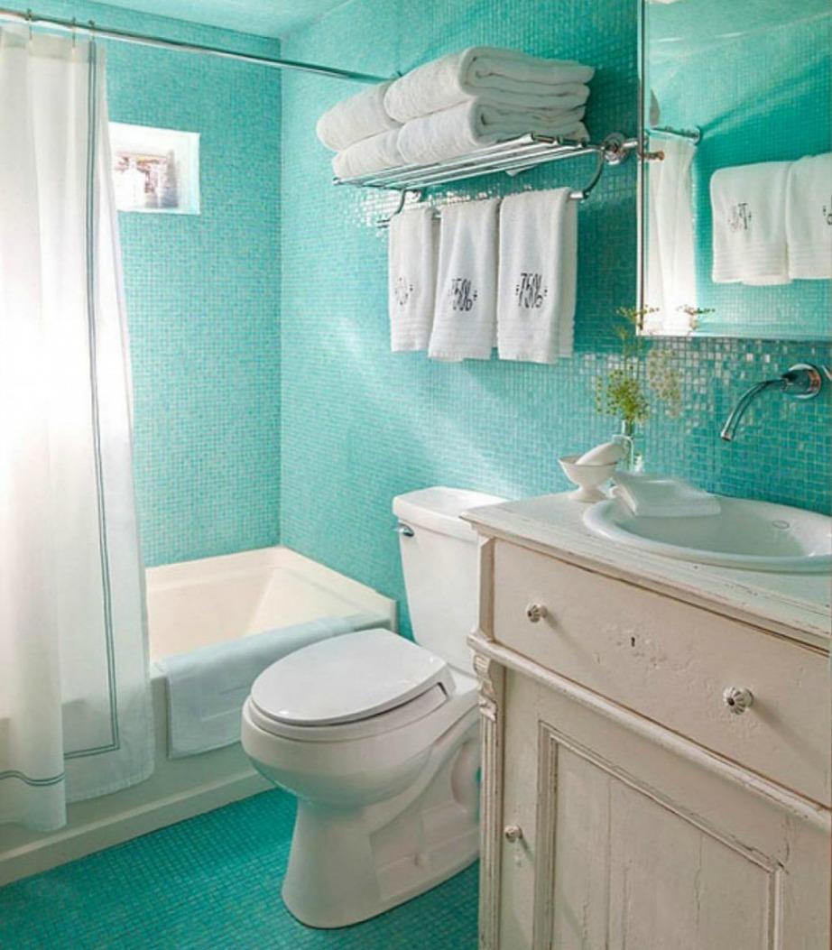 Άλλο ένα χρώμα που είναι φανταστική επιλογή για μπάνιο είναι το τιρκουάζ.