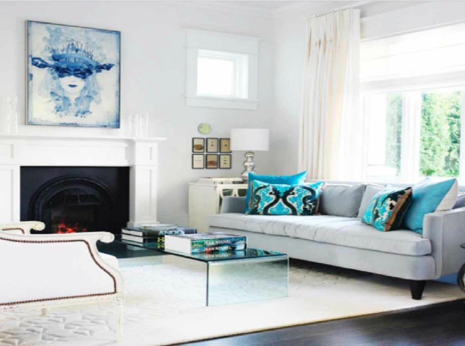 Βάψτε λευκούς τους τοίχους του σαλονιού, βάλτε μερικα΄μπλε διακοσμητικά και έναν όμορφο πίνακα ζωγραφικής με αποχρώσεις του μπλε. Το αποτέλεσμα θα σας ανταμείψει.