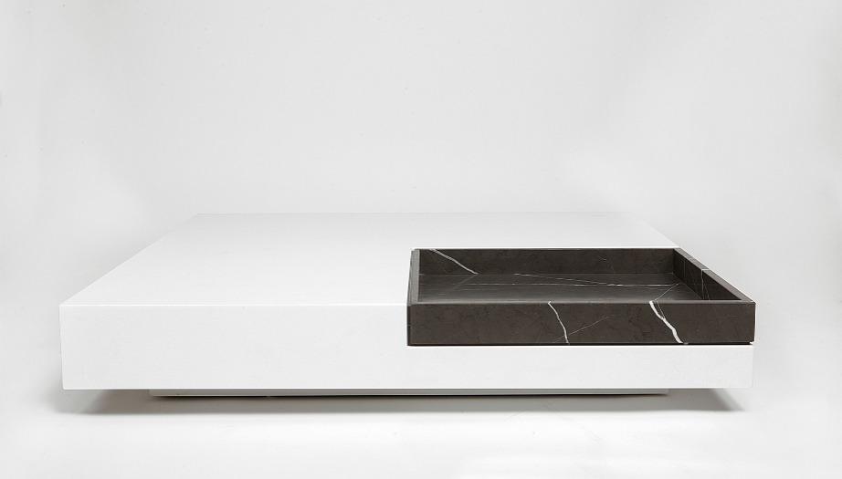 Coffee Table σε σύνθεση λευκού μαρμάρου Θάσου και Pietra Grey.