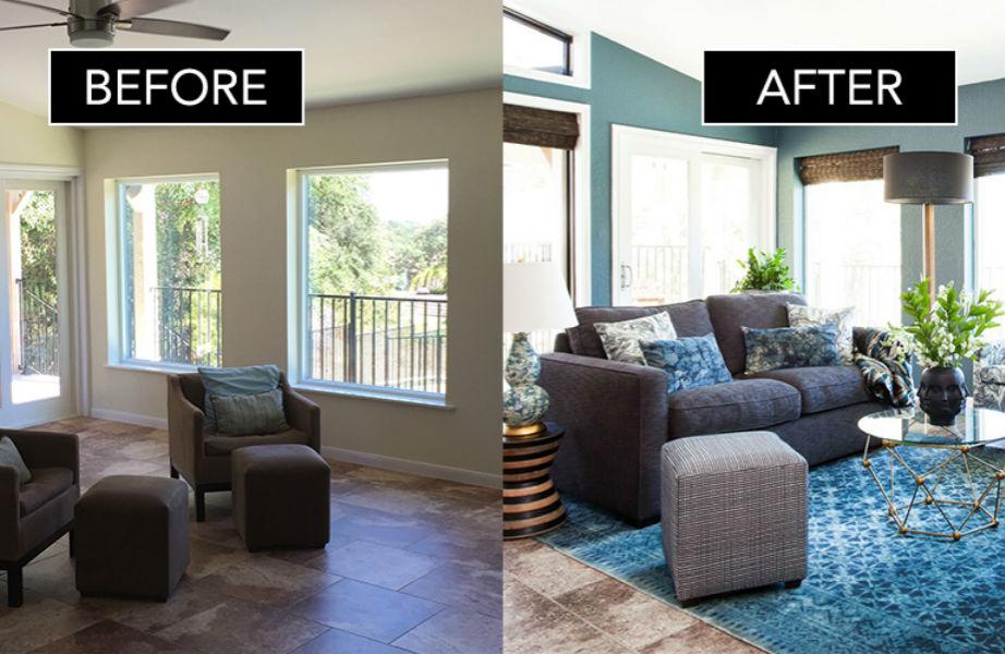 Το μικρό καθιστικό του σπιτιού πριν και μετά την αλλαγή.