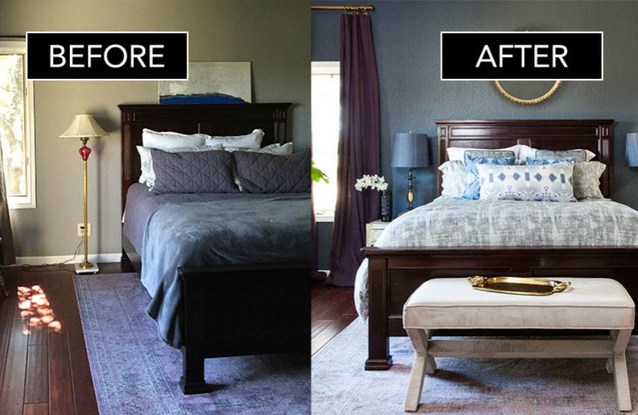 Το υπνοδωμάτιο της Elizabeth πριν και μετά την μεταμόρφωση.