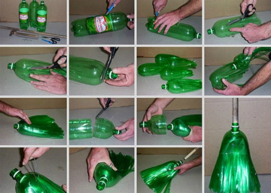 Και όμως ενώνοντας πολλά μπουκάλια με συγκεκριμένο τρόπο μπορείτε να φτιάξετε μέχρι και σκούπα.
