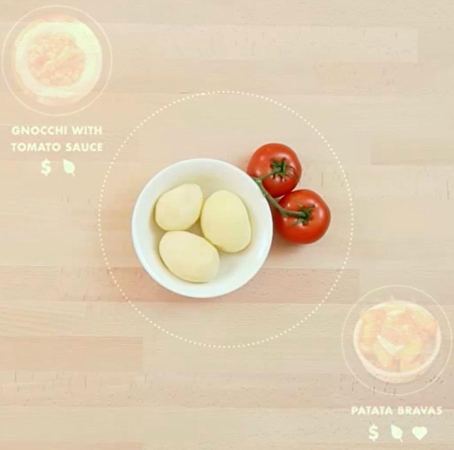 Όπως βλέπετε στην εικόνα, στο τραπέζι έχουν τοποθετηθεί 3 πατάτες και ντομάτα. Πάνω και κάτω από το πιάτο προτείνονται δύο συνταγές για αν χρησιμοποιήσετε αυτά τα δύο είδη μαζί.