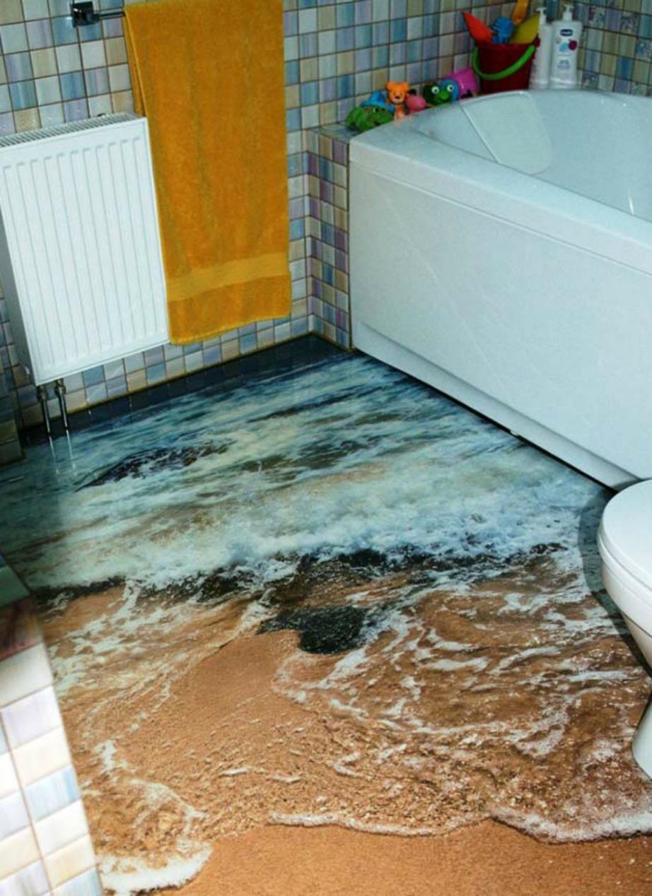 Φανταστείτε να μπαίνετε μέσα στο μπάνιο σας και να βλέπετε στο πάτωμα αυτή την τόσο αληθοφανή εικόνα της θάλασσας.