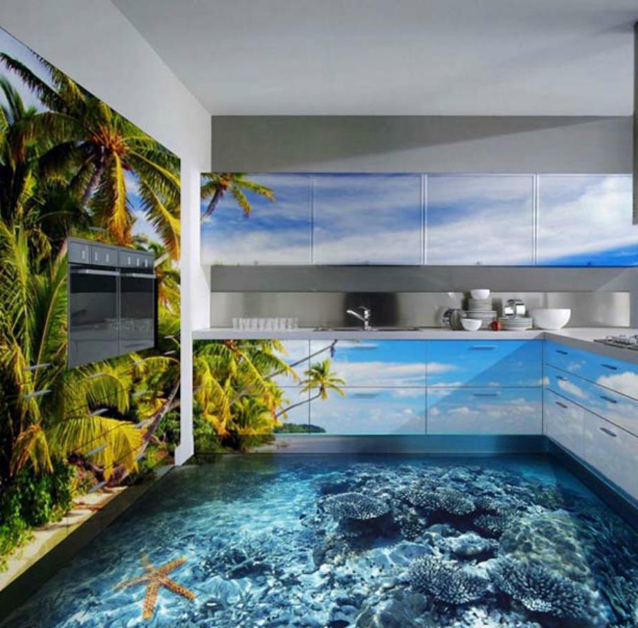 Αν επιλέξετε 3D πλακάκια για την κουζίνα θα πρέπει να διακοσμήσετε και τον υπόλοιπο χώρο σε παρόμοιο ύφος, όπως στην εικόνα.
