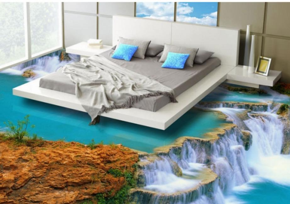 Βάλτε το κρεβάτι σας ακριβώς πάνω από αυτόν τον απότομο και λίγο τρομακτικό καταρράκτη! Το αποτέλεσμα είναι μαγευτικό και ας είναι μια ψευδαίσθηση.