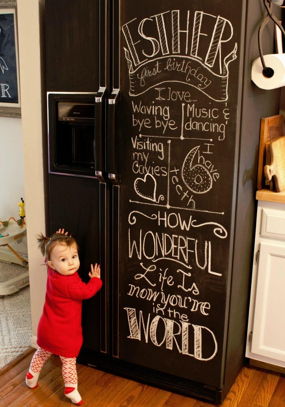 Βάψτε το ψυγείο σας με βαφή μαυροπίνακα.