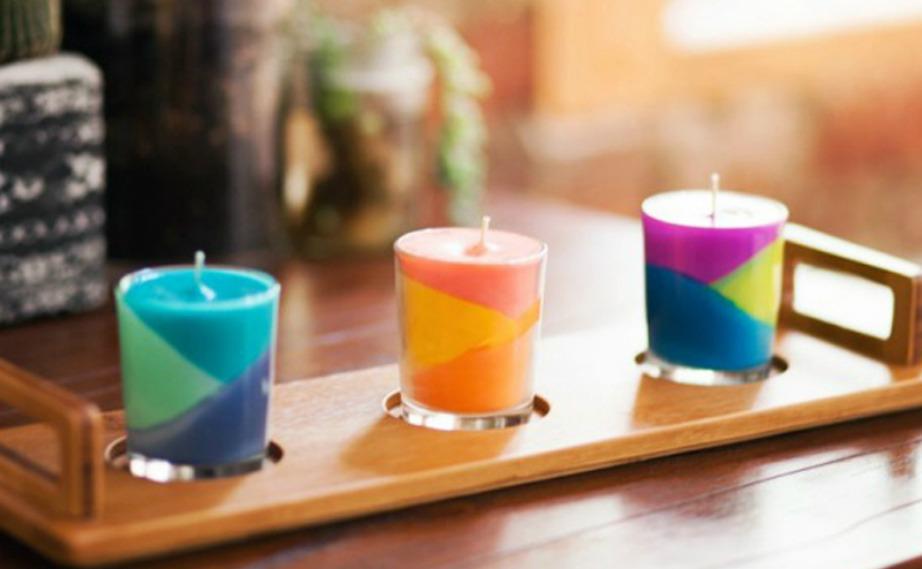 Φτιάξτε υπέροχα πολύχρωμα κεριά σαν αυτά της φωτογραφίας.