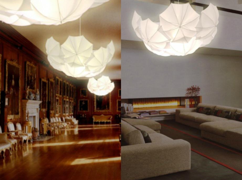 Δείτε πόσο όμορφα έχει διακοσμηθεί αυτό το σαλόνι με φωτιστικό φτιαγμένο από την ένωση πολλών ομπρελών.