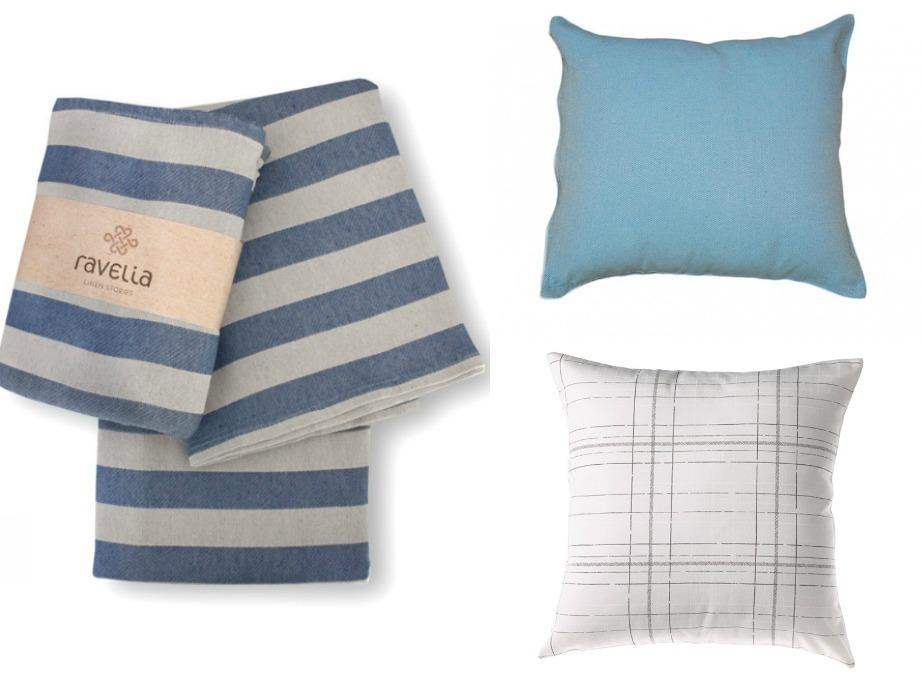 Επιλέξτε ένα πολύχρωμο ή ριγέ ριχτάρι και συνδυάστε με πιο μίνιμαλ μαξιλάρια.