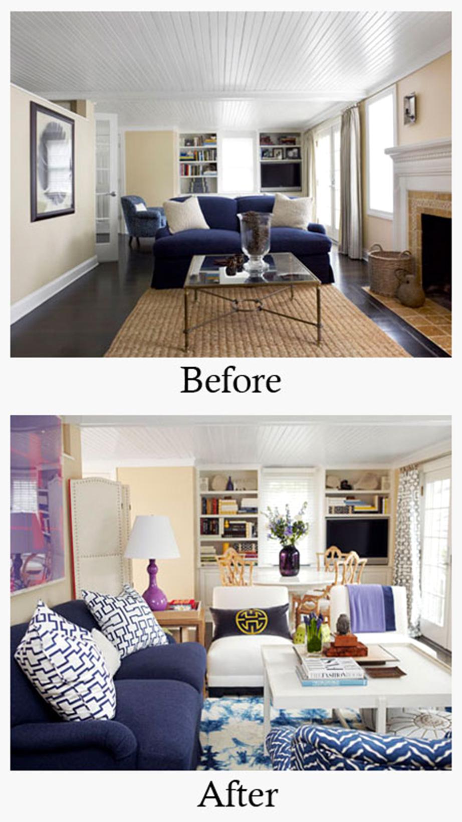 Αναδιάταξη των επίπλων με προσθήκη κι άλλων, χρωματικές επεμβάσεις στις λεπτομέρειες χωρίς αλλαγή χρώματος των τοίχων. Από το House Beautiful.