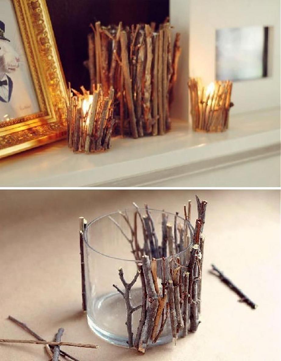 Διακοσμητικό βαζάκι για κερί με κλαράκια δέντρων.
