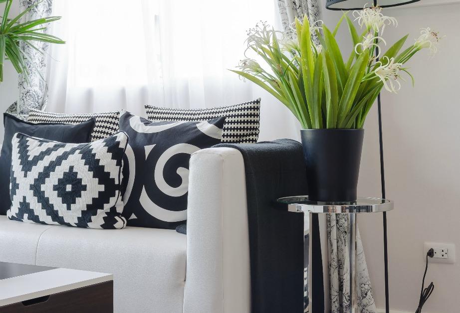 Το σαλόνι της φωτογραφίας έχει διακοσμηθεί εξ'ολοκλήρου σε ασπρόμαυρους τόνους. Τα φυτά που έχουν τοποθετηθεί δίπλα στον καναπέ, όμως, δίνουν ζωντάνια σε όλο τον χώρο και κάνουν την ασπρόμαυρη διακόσμηση αν δείχνει ακόμα πιο όμορφη.