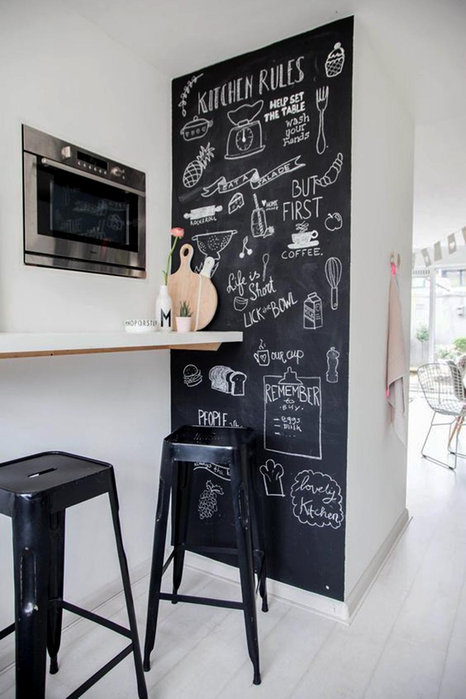 Περάστε με ειδικό χρώμα μαυροπίνακα έναν τοίχο της κουζίνας σας και δώστε του καθημερινά άλλη μορφή με σχέδια και χρώματα από κιμωλίες.