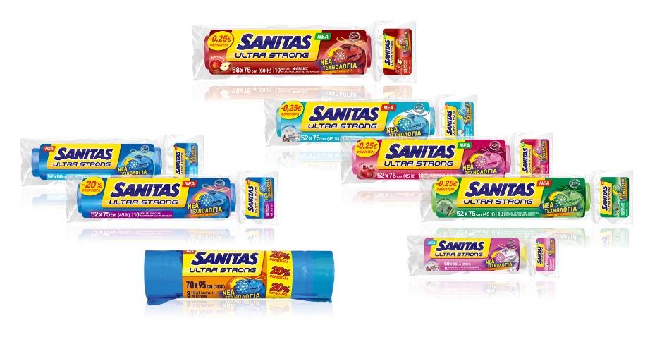 Οι σακούλες απορριμάτων της SANITAS κυκλοφορούν σε διάφορα μεγέθη και με υπέροχα αρώματα.