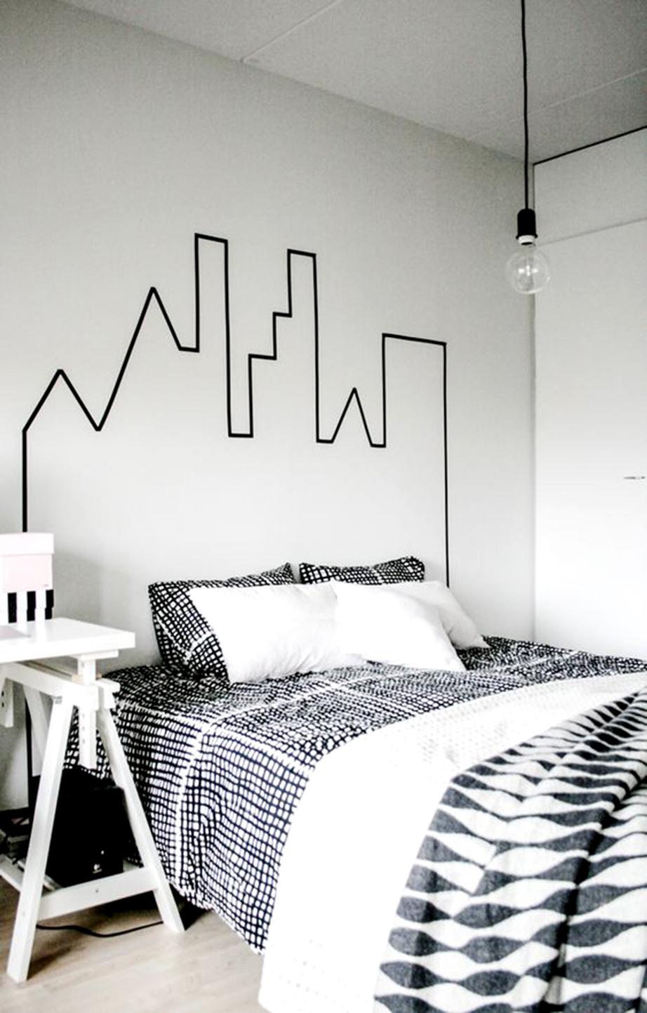 Δημιουργήστε το γεωμετρικό περίγραμμα μιας πόλης στον τοίχο πίσω και πάνω από το κρεβάτι σας.