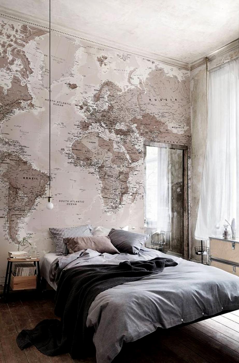 Μια εντυπωσιακή προσέγγιση είναι η επένδυση ολόκληρης της επιφάνειας του τοίχου με ταπετσαρία που θα απεικονίζει τον παγκόσμιο πολιτικό χάρτη.