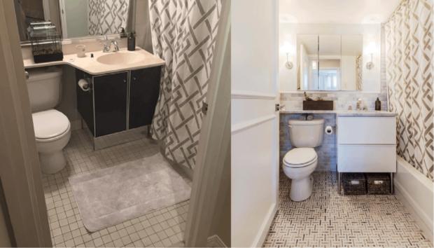 Πριν & Μετά: Να πώς θα Δώσετε Πολυτελές Look σε Ένα Βαρετό Μπάνιο