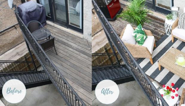 Πριν & Μετά: Ένα Μπαλκόνι σε Περίεργο Σχήμα Μετατρέπεται σε μια Μικρή Όαση!