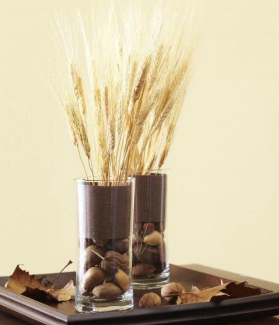 Τα σιτάρια και οι ξηροί καρποί φτιάχνουν ένα πολύ όμορφο φθινοπωρινό βάζο.