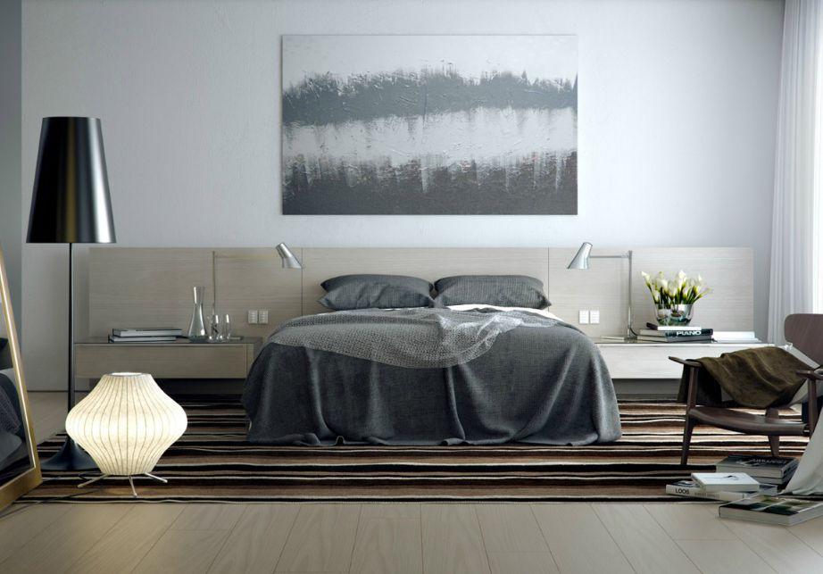 Ένας πίνακας με διάφορες αποχρώσεις του γκρι ταιριάζει φανταστικά σε υπνοδωμάτιο και σαλόνι.
