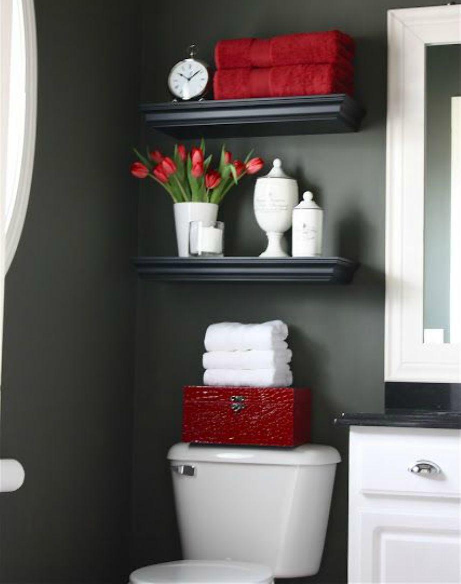 Στο μπάνιο το γκρι χρώμα συνδυάζεται πολύ ωραία με ένα βαθύ σκούρο κόκκινο χρώμα!