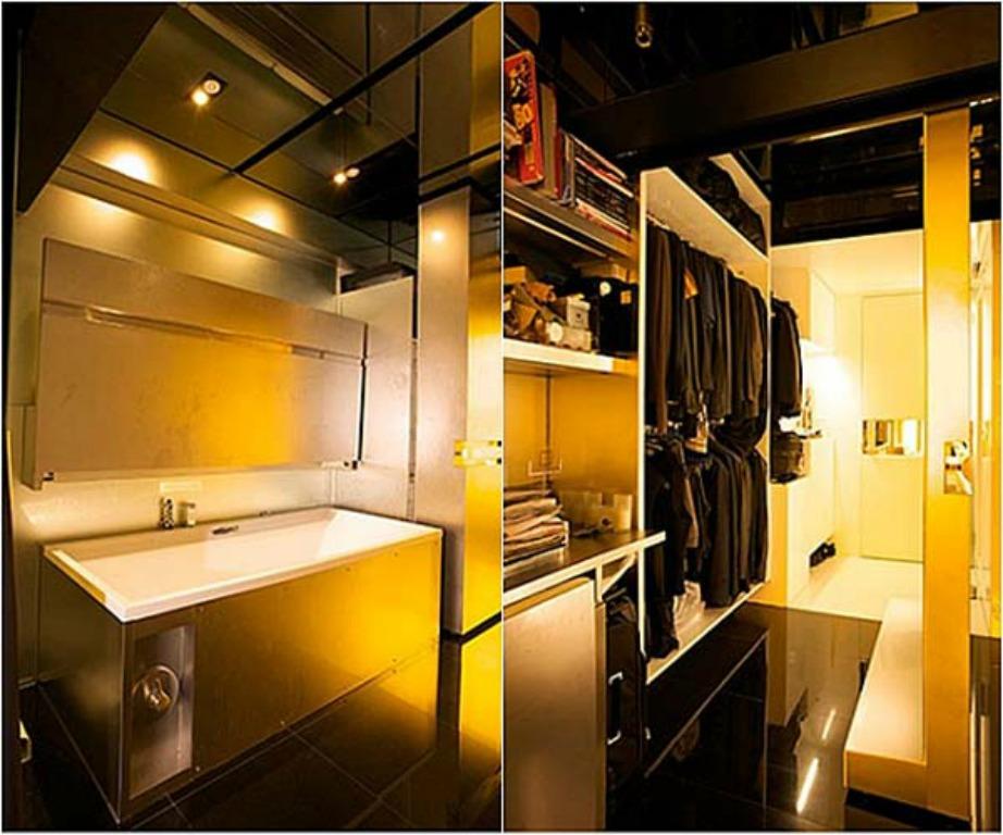 Το μπάνιο και η ντουλάπα αλλάζουν μαγικά με την κύλιση ενός τοίχου.