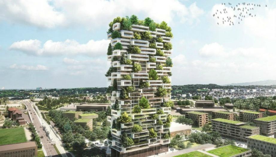 Οι Πύργοι είναι σχεδιασμένοι από τον Ιταλό αρχιτέκτονα Stefano Boeri και εκτίνονται σε ύψος 116 και 76 μέτρων αντίστοιχα.