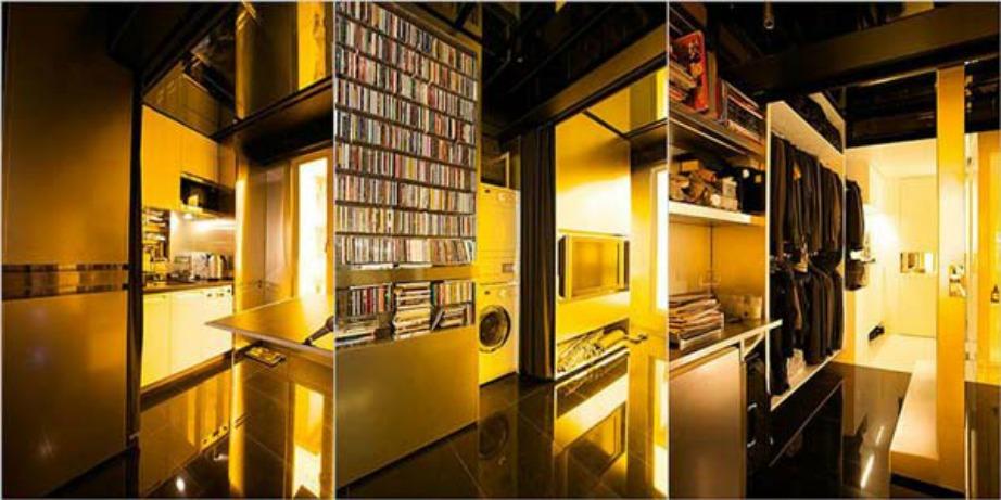 Το μόλις 32 τετραγωνικών μέτρων διαμέρισμα διαθέτει βιβλιοθήκη και αίθουσα κινηματογράφου.