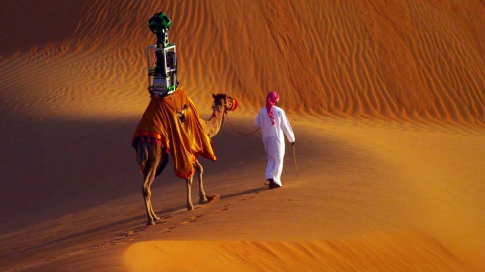Η πρώτη καμήλα που διορίστηκε από τη Google για να καταγράψει μια διαδρομή σε έρημο.
