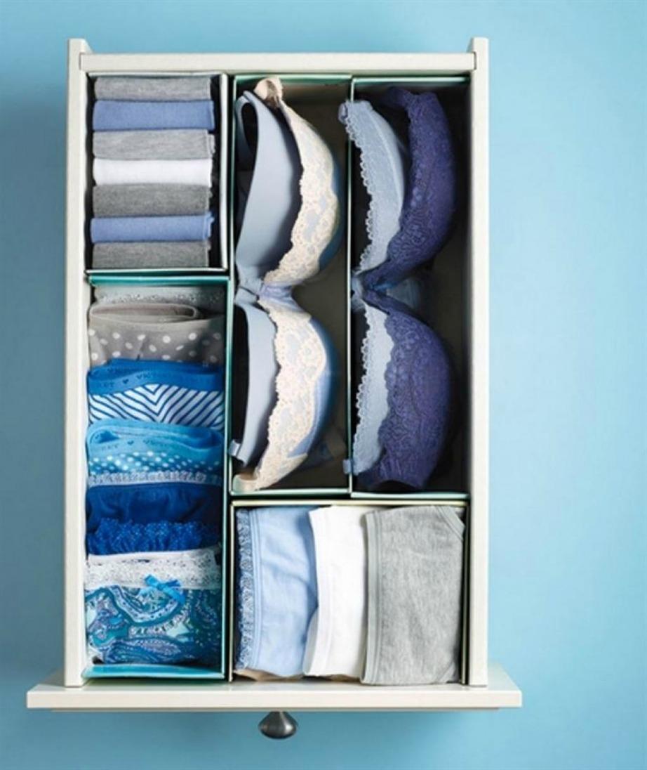 Χρησιμοποιήστε κουτιά από παπούτσια για να φτιάξετε διαχωριστικά για τα εσώρουχά σας.