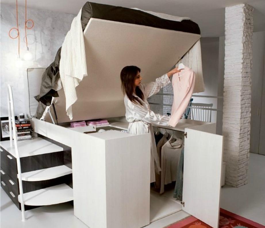 Ψηλό κρεβάτι με κρυμμένη ντουλάπα! Ιδανικό για μικρούς χώρους.