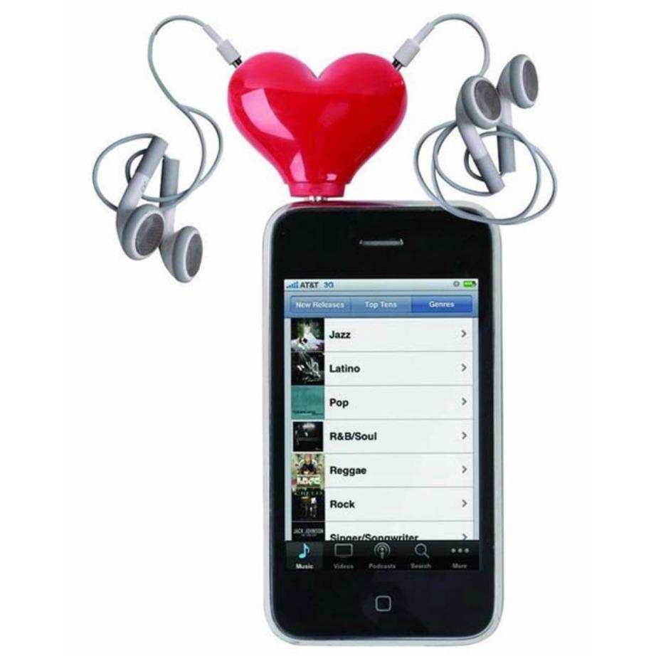 Ακούστε μουσική μαζί βάζοντας αυτή την υποδοχή σε σχήμα καρδιάς στο mp3 σας.