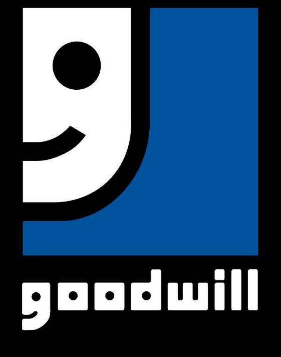 Το γράμμα g στη λέξη Goodwill είναι ένα μισό προσωπάκι που χαμογελάει.