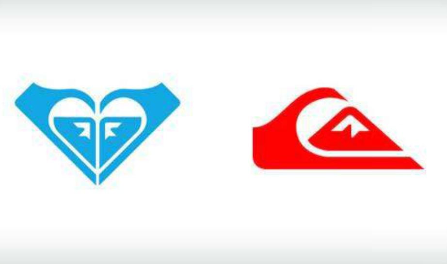 Αριστερά είναι το logo της μάρκας Rpxy και δεξιά το logo της Quicksilver.