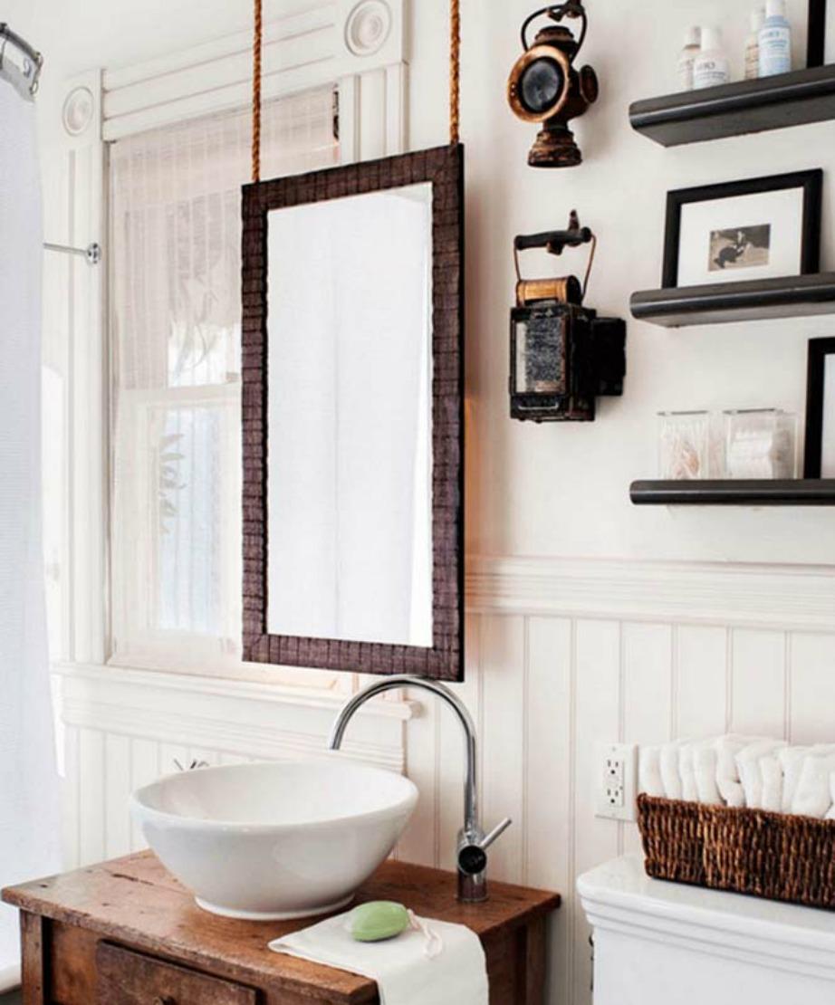 Δείτε πόσο διαφορετικός φαίνεται αυτός ο απλός καθρέφτης που είναι κρεμασμένος με σχοινί από το ταβάνι.