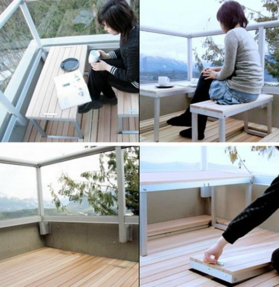 Αυτό το τραπέζι είναι ιδανικό για όλους εσάς που δεν θέλετε να έχετε μονίμως ένα τραπέζι στη μέση του μπαλκονιού σας.
